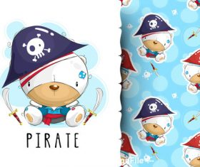 Animal pirate cartoon background pattern vector