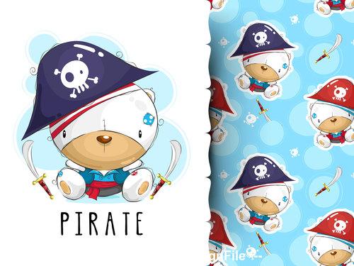 Animal pirate cartoon background pattern vector