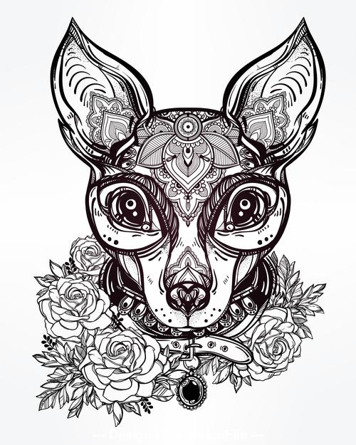 Animal portrait hand drawn pattern vector