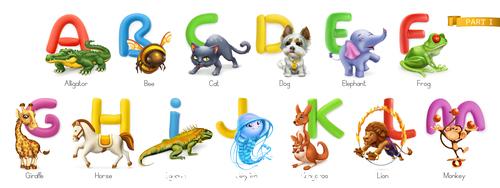 Animals and alphabet vector