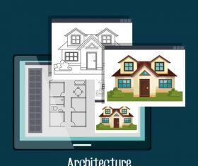 Apartment architectural design drawing vector