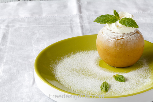 Apple Ice Cream and Green Leaves Stock Photo