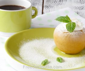 Apple Ice Cream and Tea Stock Photo
