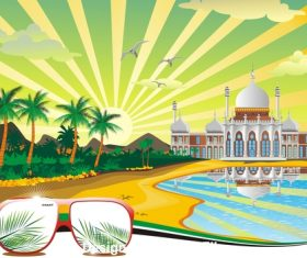 Arab beach arabic palace on the coast vector