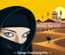 Arab woman against the palace in the desert vector