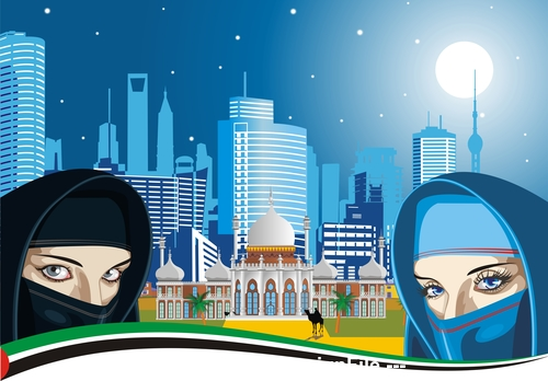 Arab women and the ancient Palace on a background of modern city vector