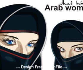Arab women on a transparent background vector