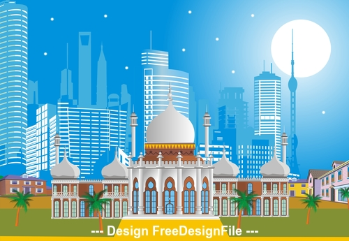 Arabic Palace on the background of the modern city vector