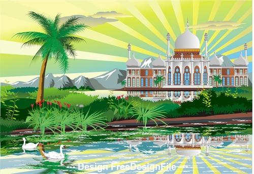Arabic Palace on the shore of a beautiful lake with swans vector