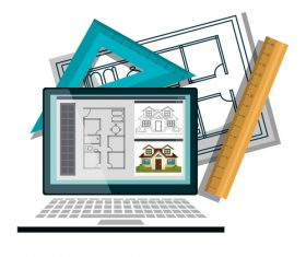Architectural design drawings on tablet vector