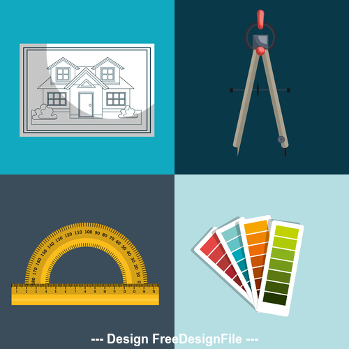 Architectural design tools and drawings vector
