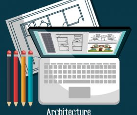 Architectural drawings design vector