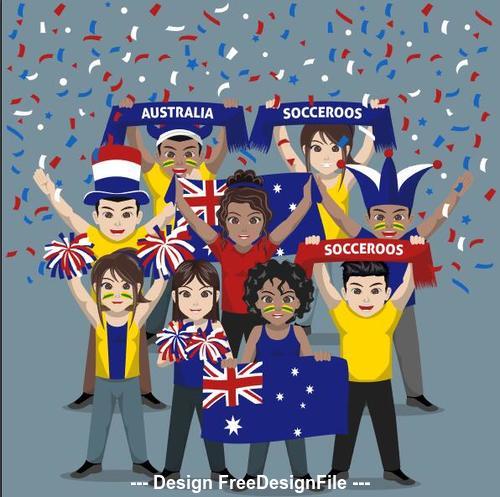 Ausuralia football group supporter vector