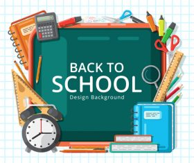 Back to school utensils background vector