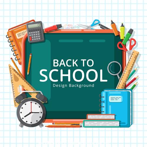 Back to school utensils background vector