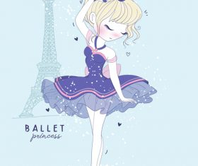 Ballet princess cartoon illustration vector