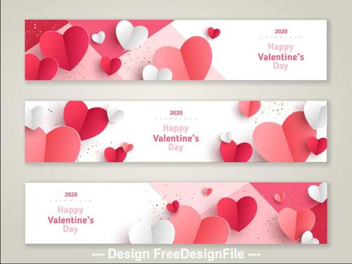 Banner 2020 Valentines day template vector