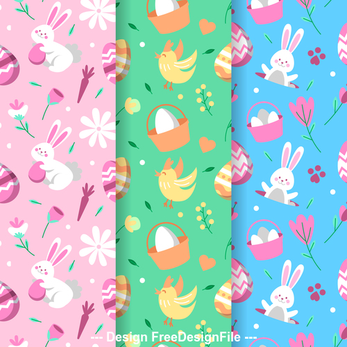 Banner happy easter decorative pattern vector