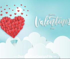 Beautiful Valentines Day origami greeting card vector