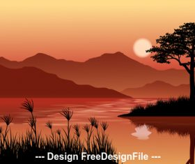 Beautiful dusk cartoon illustration vector