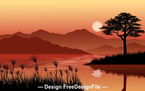 Beautiful dusk cartoon illustration vector