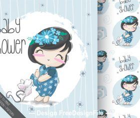 Beautiful little girl cartoon background vector