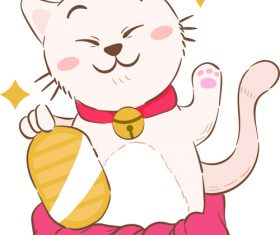 Beckoning cat cartoon illustration vector