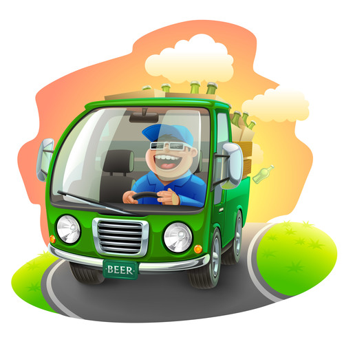 Beer car illustration vector