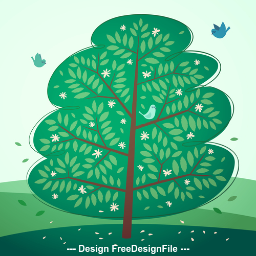 Bird and tree vector