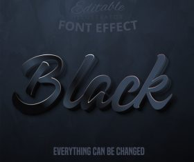 Black 3d font effect editable text vector