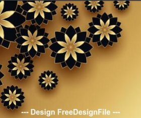 Black and golden flowers decoration design vector