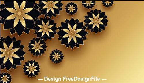 Black and golden flowers decoration design vector