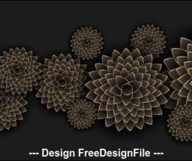 Black background flowers decoration design vector