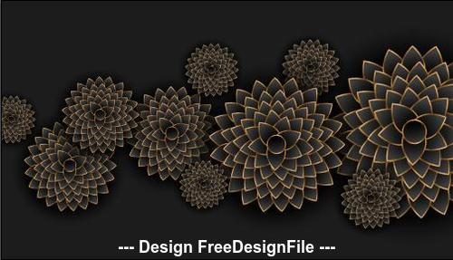 Black background flowers decoration design vector