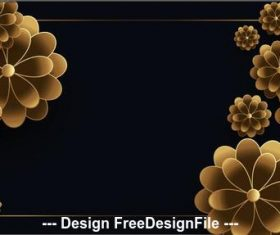 Black background golden flowers design vector