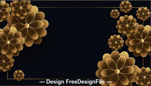 Black background golden flowers design vector