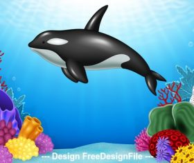 Black dolphin cartoon illustration vector