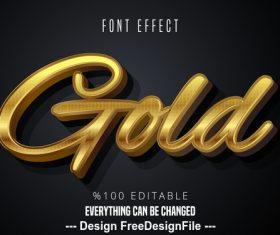 Black gold 3d font text effect vector