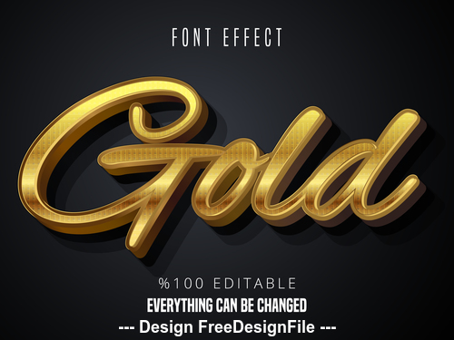 Black gold 3d font text effect vector