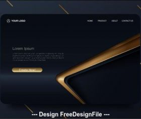 Black gold bar background landing page website vector design