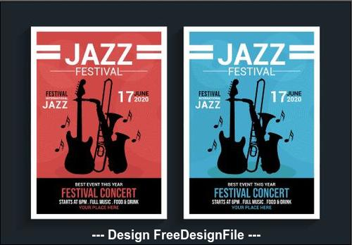 Blue and red background jazz festival poster vector