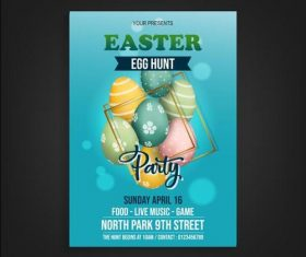 Blue background easter party poster vector