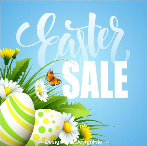 Blue background egg and flower sale cover vector