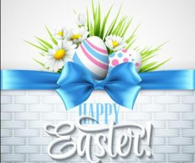 Blue bow easter greeting card vector