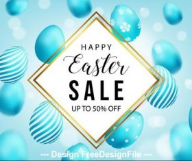 Blue easter egg background flyer vector