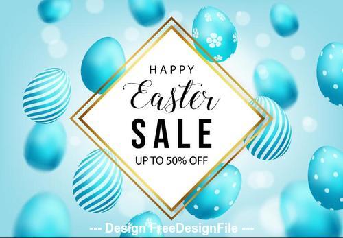 Blue easter egg background flyer vector