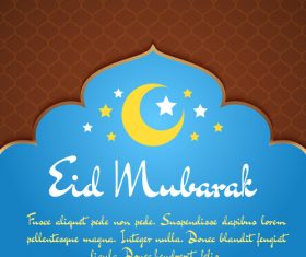 Blue mosque background Eid mubarak greeting card vector