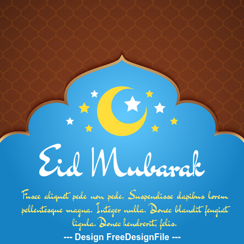 Blue mosque background Eid mubarak greeting card vector