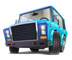 Blue off-road vehicle vector