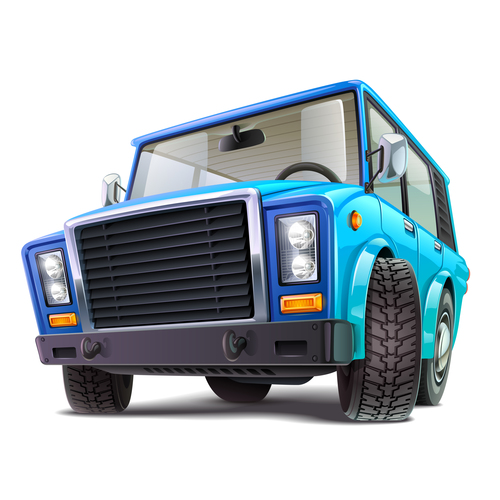 Blue off road vehicle vector